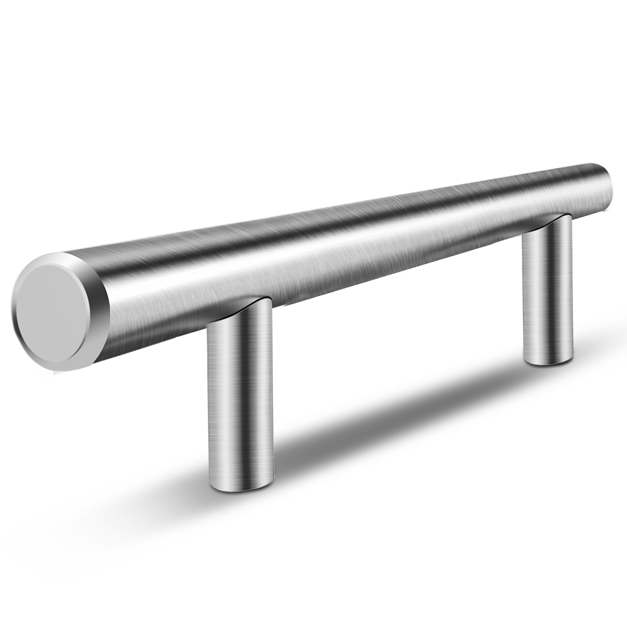 Flexzion 4 Inch Solid Stainless Steel Bar Handle Pull Fine Brushed